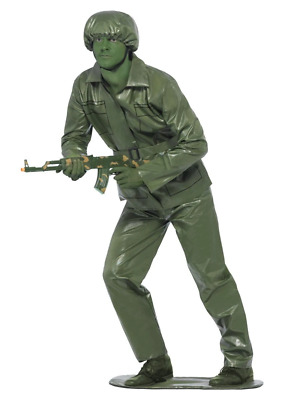 Green Toy Soldier Army Military Movie Plastic Story Fancy Dress Costume