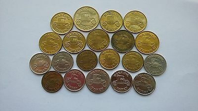 Parking Tokens Featuring Antique Cars, Various Sizes, Brass, Silver/Gold Tone