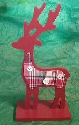 """9"""" Folk  Art  Country Christmas Red Reindeer Decoration  NEW"""