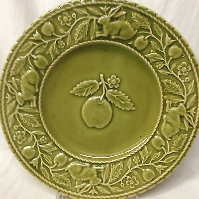 Bordallo Pinheiro Bpi65 Salad Plate 8 1/8 Embossed Green Apple Rabbit Frog Label