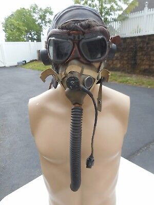 WW2 RAF Grouping Oxygen Mask Type H Leather Flight helmet Type C Early Goggles