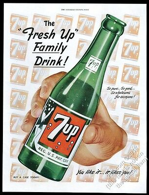 1949 7Up 7-Up soda large green bottle and logos art vintage print ad