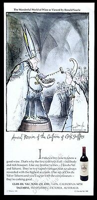 1982 Ron Ronald Searle cork sniffers cartoon Clos Du Val Wine vintage print ad