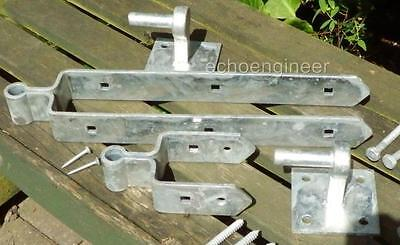 "FIELD GATE HARDWARE 18"" / 450mm HEAVY DOUBLE STRAP HINGE SET with HOOKS"