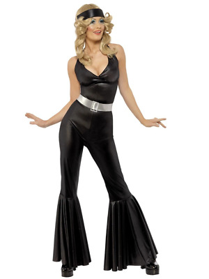 1970s Disco Dancing Diva Black Catsuit Glam Fancy Dress Costume Jumpsuit