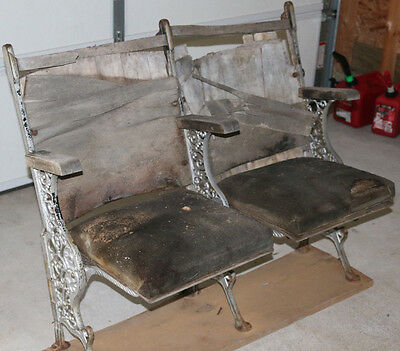 Antique folding theater seats ORNATE CAST IRON 2 seats w/rack DIY EASY RESTORE