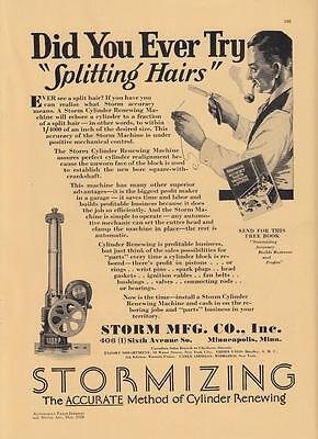 1930 Storm Mfg Minneapolis MN Ad Stormizing Accurate Method of Cylinder Renewing