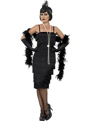 Long Black Flapper Costume 1920's Razzle Charleston Gatsby Fancy Dress Outfit