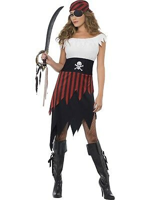 Pirate Wench Dress Buccaneer Caribbean Fancy Dress Black & White Striped Costume