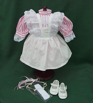 """American Girl 18"""" Retired SAMANTHA BIRTHDAY DRESS PINAFORE + PARTY SHOES REPRO"""