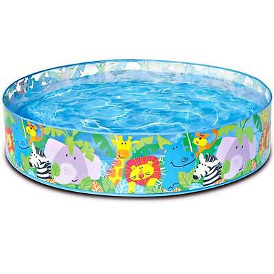 "Intex Childrens Rigid side Paddling Swim Pool 4ft x10"" Snapset Kids Garden Toys"