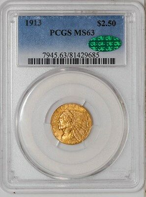 1913 $2 1/2 Gold Indian MS63 PCGS ~ CAC
