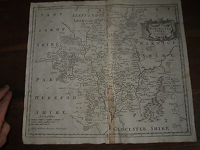 1695 Morden Map Of Worcestershire Sold By Swale Awnsham & Churchil Lutterworth