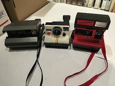 3 Vintage Polaroid Instand Cameras SX-70, Cool Cam 600, Spectra System