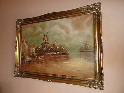 Extra Large Stunning Original Oil On Canvas Landscape Painting SIGNED