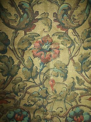 """Antique French Printed Linen Uphostery Fabric 32"""" X 72"""" Indienne Floral Print"""