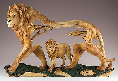Lion Carved Wood Look Figurine Resin 12.25 Inch Long New In Box