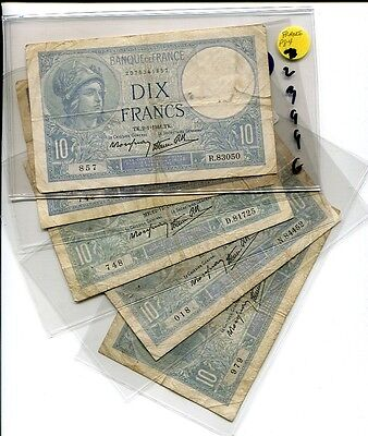 France  1941 1940 10 Francs Currency Lot Of 5 Circulated 2399G