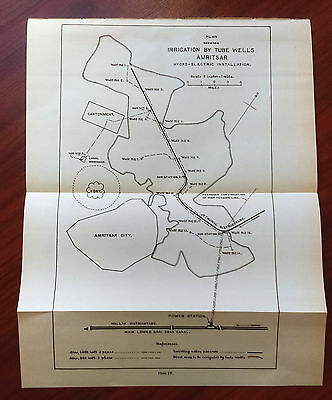 1915 Map Plan Shwoing Irrigation by Tube Wells Amritsar Hydro-Electric India