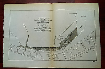 1892 Improving Falls of Ohio River at Louisville KY Map