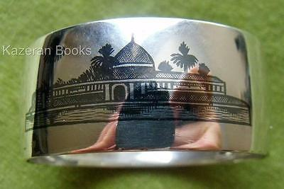 Signed Antique Niello & Solid Silver Middle East Iraq Pictorial Oval Napkin Ring