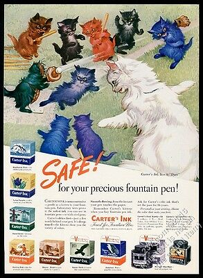 1946 cat kitten colorful cats baseball game art Carter's Ink vintage print ad