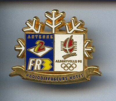 Rare Pins Pin's .. Olympique Olympic Albertville 1992 Tv Radio A2 Fr3  ~W1
