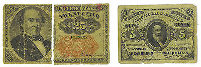 United States Fractional Currency 1863 5 Cents Note VG Bonus 1874 25 Cents Split