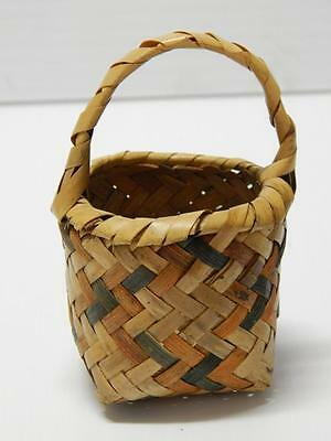 Antique Vintage Choctaw Indian Miniature Egg Basket W/ Handle Nice Old Patina