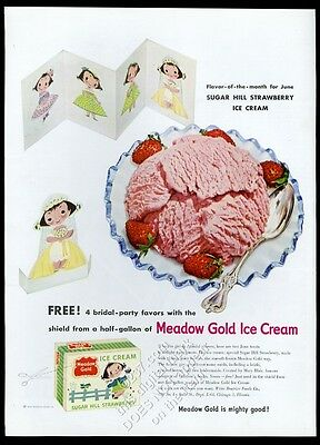 1954 Mary Blair girl art Meadow Gold strawberry ice cream vintage print ad