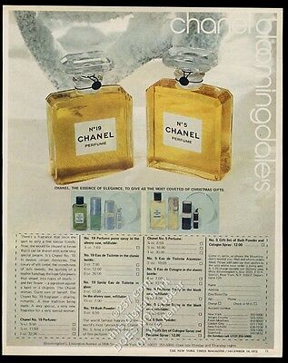 1972 Chanel No.5 and 19 perfume bottle color photo vintage print ad