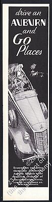 1935 Auburn Supercharged convertible car illustrated vintage print ad