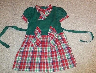 Vintage 50s Red & Green plaid Girls A-line Skirt Cotton Dress Christmas