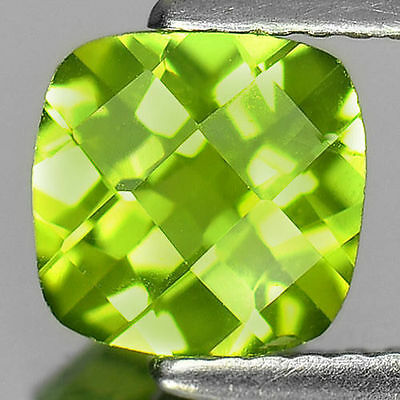 1.29 ct. VS !  Feiner grüner 7 x 7 mm Pakistan Cushion Peridot
