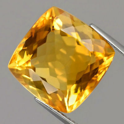 12.82 ct. TOP Goldgelber 14.5 mm Brasilien Karree Citrin