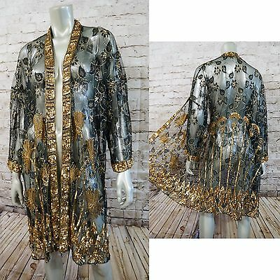 VTG 80s Sequin Beaded Lace Duster Jacket Draped Cocktail Top 20's Art Deco OS
