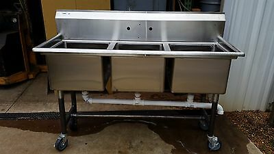"""Three Compartment Commercial Stainless Steel Sink 60"""""""
