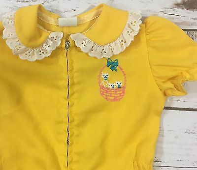 Vintage 70s Yellow One-Piece Baby Girl Romper Embroidered Kitty Cats in a Basket