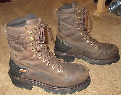 """Mens ARIAT Powerline 8"""" H2O Soft Toe Leather Work Boots sz 9 D"""