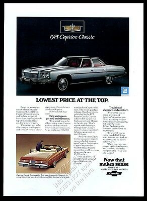 1975 Chevrolet Caprice Classic convertible and sedan car photo vintage print ad