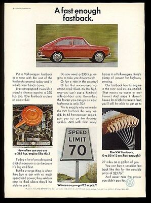 1967 VW Volkswagen Fastback Type 3 red car color photos vintage print ad