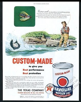 1950 Royal Rogan Gray Ghost salmon fishing fly fisherman art Texaco vintage ad