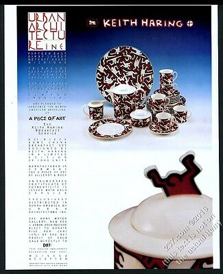 1993 Keith Haring Breakfast Service plate cup saucer photo UA vintage print ad