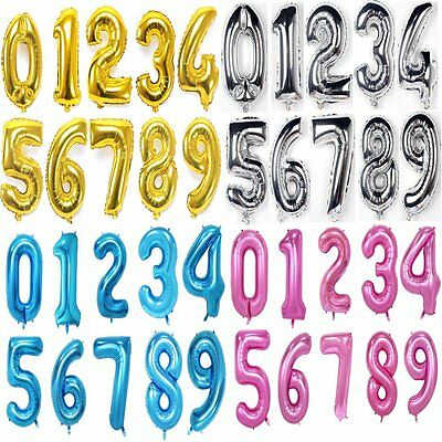 """16-40"""" Giant Foil Number Balloons Wedding letter Air Helium Birthday Age Party"""