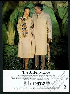 1981 Burberrys man's woman's trench coat trenchcoat photo vintage print ad