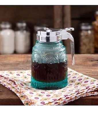 Pioneer Woman Teal Syrup Pourer Dispenser Embossed Turquoise Glass Adeline
