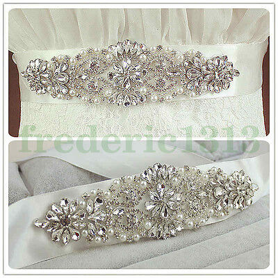 Crystal Wedding Dress Sash Handmade Bridal Waist Belt Satin Ribbon Stylish