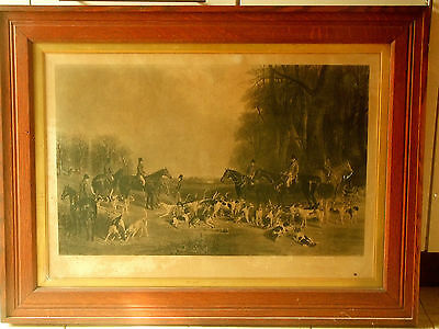 VICTORIAN HUNTING SCENE-'THE NORTHUMBERLAND HUNT' ENGRAVED PRINT-c.1860's