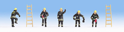 Noch 15021 Fire Brigade Black Clothing Figure Set (Pk5) HO Gauge