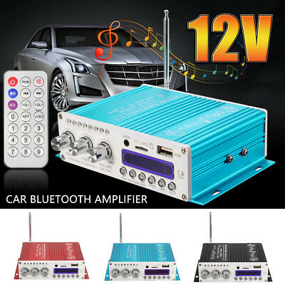 12V Mini Bluetooth Hifi Audio Stereo Amplifier Amp USB Charge For Motorcycle Car